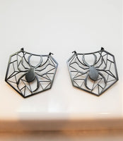 Pair spider on web light ear weights, hoop earrings