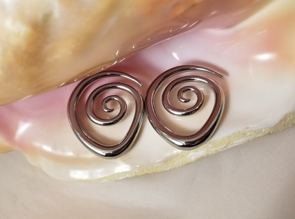 Pair Copper Spiral Ear Weights - Hanger Jewelry