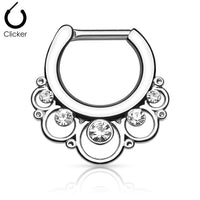 16G Surgical Steel Septum Clicker with Clear Gem - seo-img