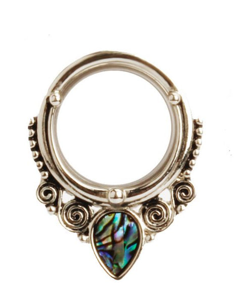 Stainless Steel Tunnels with Abalone Shell Insert - seo-img