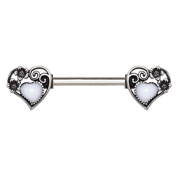 Steampunk Heart Nipple Bars with White Enamel Center - seo-img