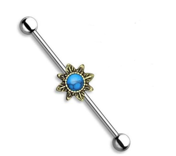14G Tribal Sun with Turquoise Stone Industrial Barbell - seo-img