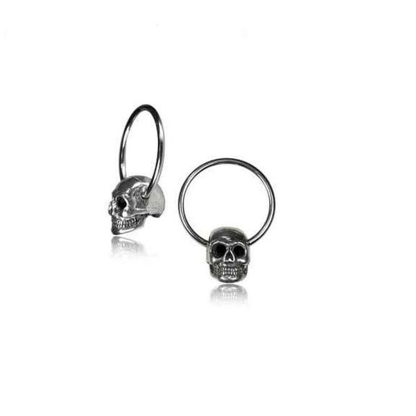16G or 18G white brass Skull Captive Bead Ring or Septum Ring