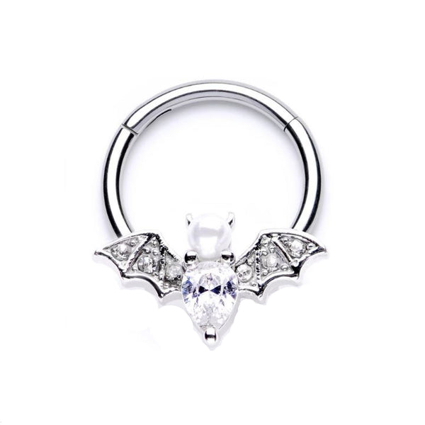 16G hinged segment ring or septum ring Bat with clear cz and opal