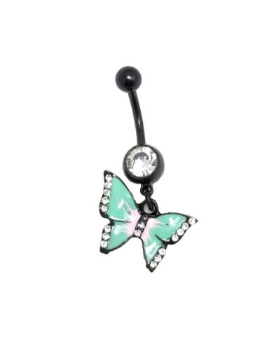 Black Butterfly with Clear CZ gems Dangle Belly Ring - seo-img