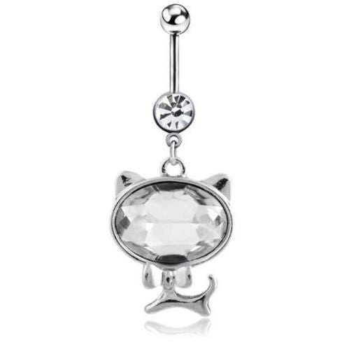 Cat Belly ring with Clear Gem - seo-img