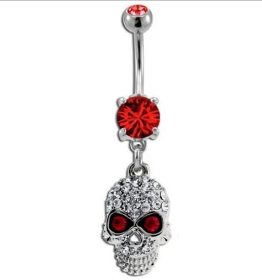 Clear Gem Skull with Red Gem Eyes Belly Ring - seo-img