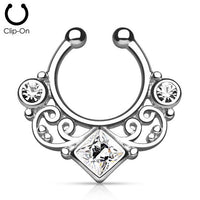 Fake Septum Ring - Silver tone with clear CZ - clip on - seo-img