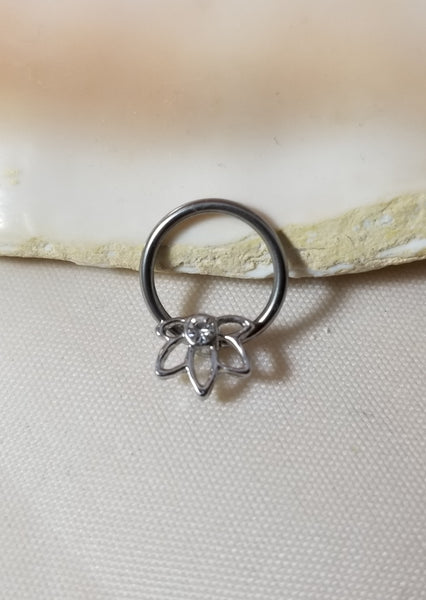16G Flower Captive Bead Ring or Septum Ring with Clear CZ 3/8