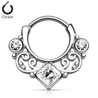 16G Lace Swirl Septum Clicker with Clear Gem - seo-img