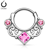 16G Lace Swirl Septum Clicker with Pink Gem - seo-img