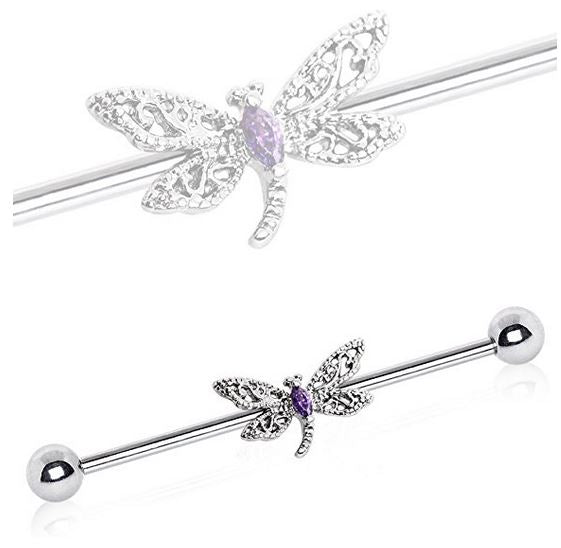 14G Dragonfly Industrial Barbell with Purple Marquis Cut CZ - seo-img