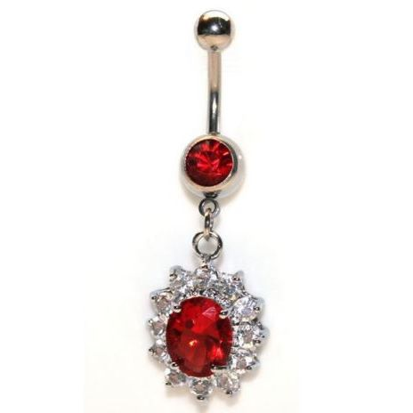 14G Red with Clear Gem Dangle Belly Ring - seo-img