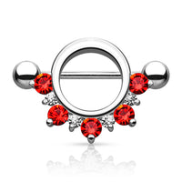 Half Circle Nipple Shield Red Gem - Sold as a Pair - seo-img