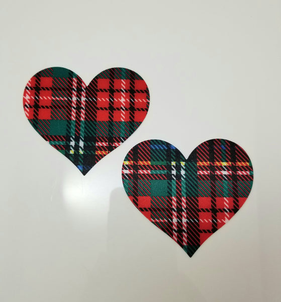 Red Plaid Heart Pasties - sold as a pair