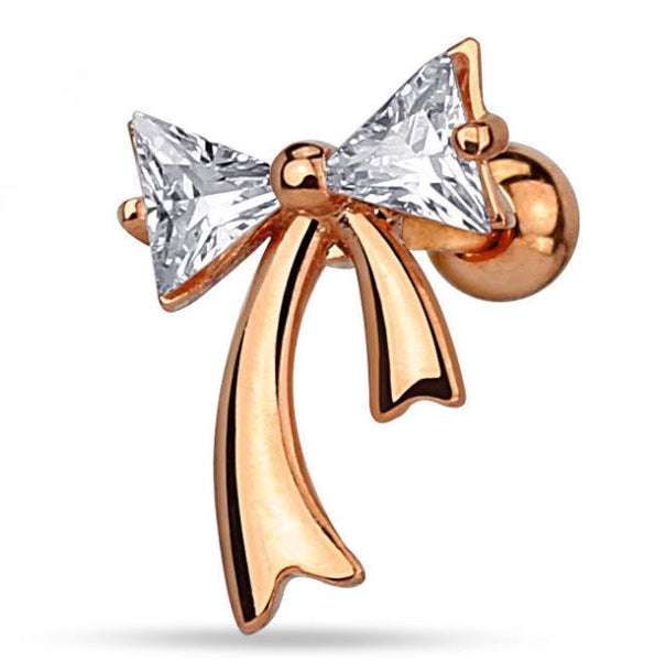 16G Rose Gold Bow Cartilage Barbell - seo-img