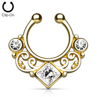 Fake Septum Ring - Gold tone with clear CZ - clip on - seo-img
