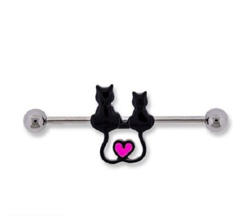 Black Cats Industrial Barbell with Heart Tail - seo-img