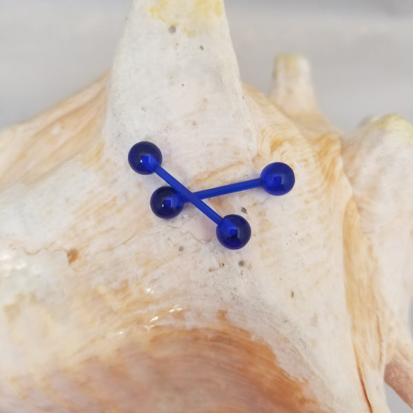 14G Blue Tongue (or Nipple) Retainer with Ball Ends- Pair