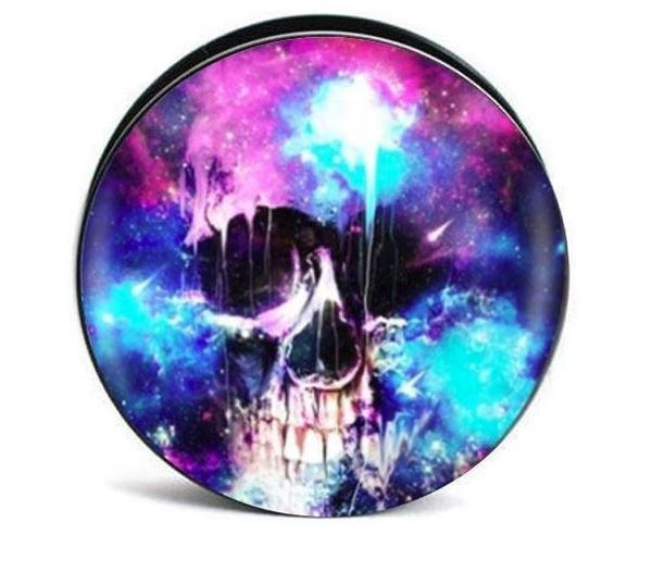 Watercolor Skull Screw Fit Acrylic Plugs - Sold as a pair - seo-img