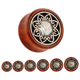 Red Wood Saddle Style Mandala Flower with Shell Center Plugs - Sold as a pair - seo-img