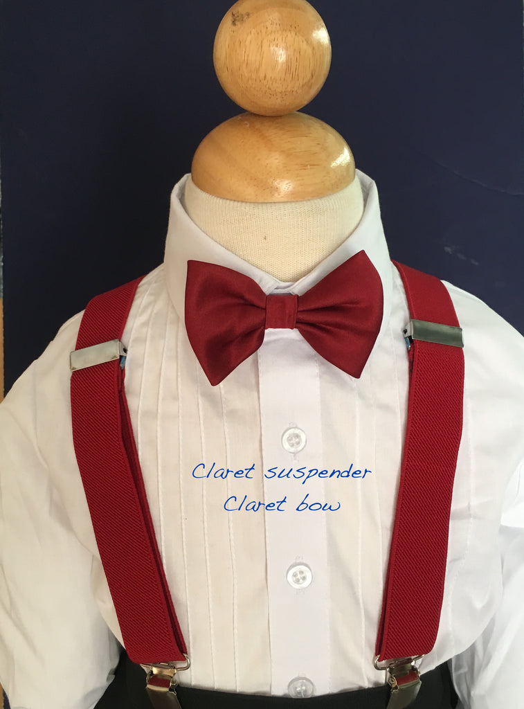 Claret suspender and bow tie