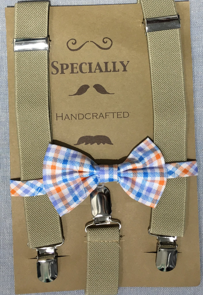 Sand Suspender and Orange Checker Bow Tie