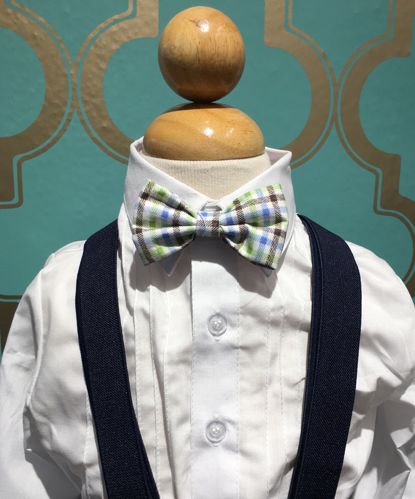 Navy Suspender and Blue Checker Bow Tie