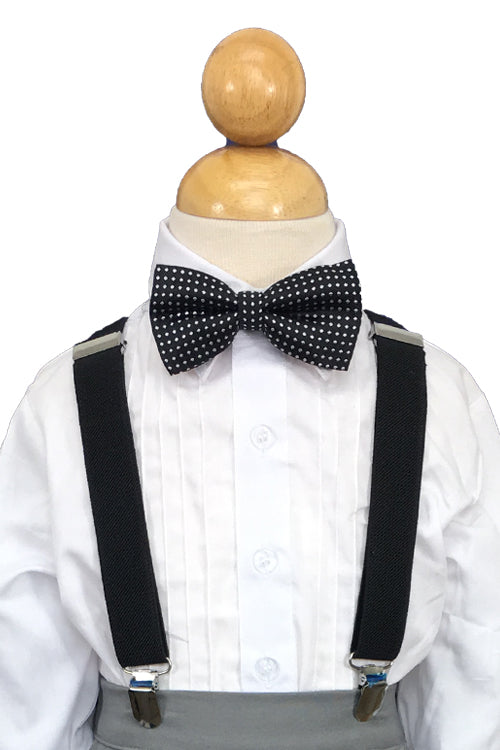 Black Suspender and Black Polkadot Bow Tie