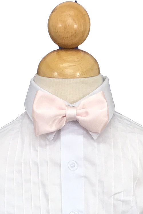 Blush Pink Satin Bow Tie