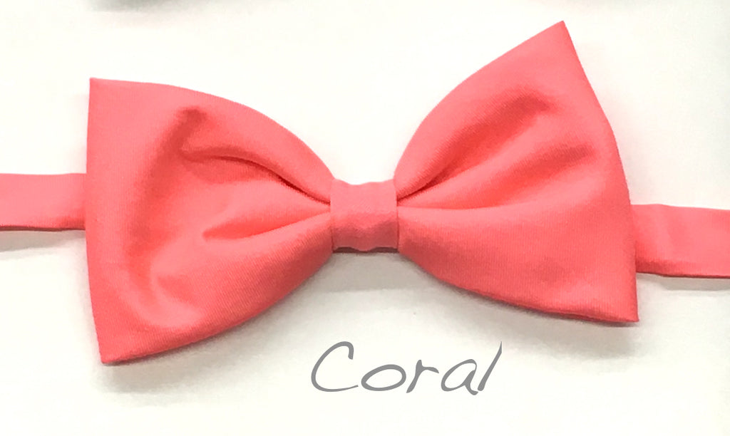Coral Satin Bow Tie