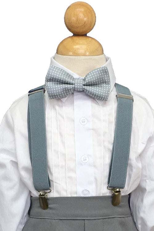 Heather Suspender and Grey Polkadot Bow Tie