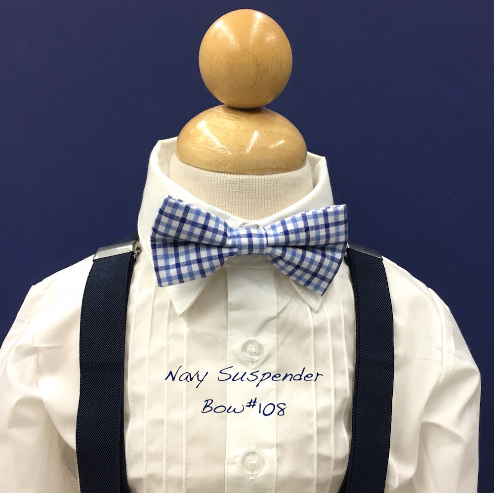 Navy suspender and checker bow tie
