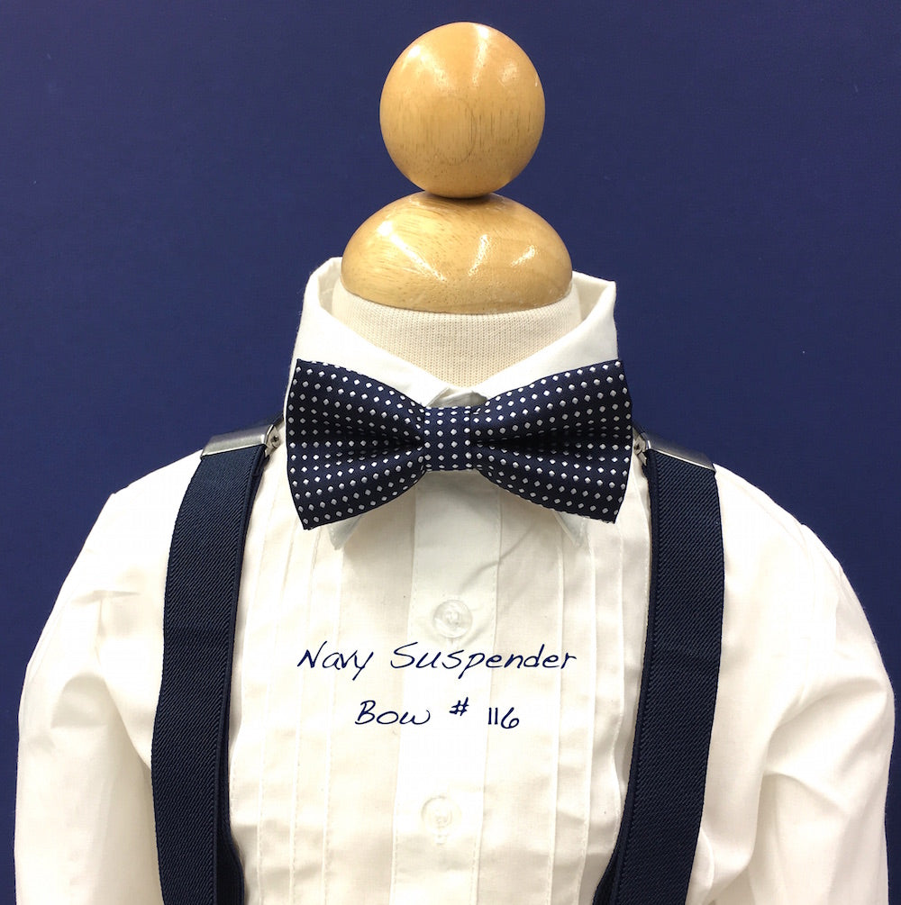 Navy suspender  and navy polka dot bow tie