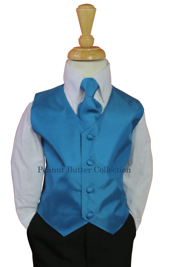 Teal Blue vest and tie