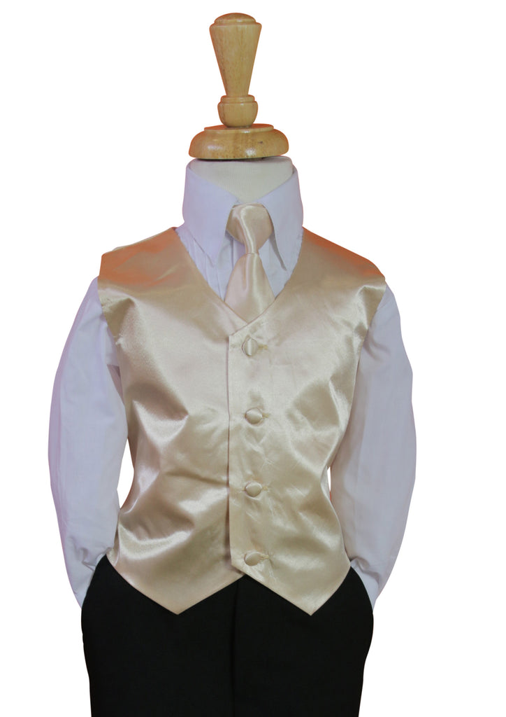 Chmpagne Vest and Long tie