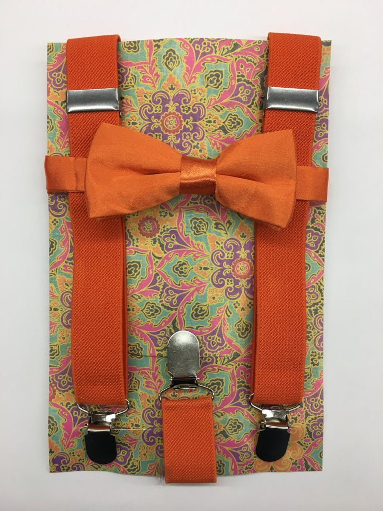 Orange Suspender and Bow Tie
