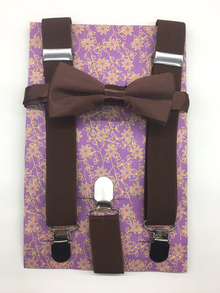 Brown Color Suspender and bow tie