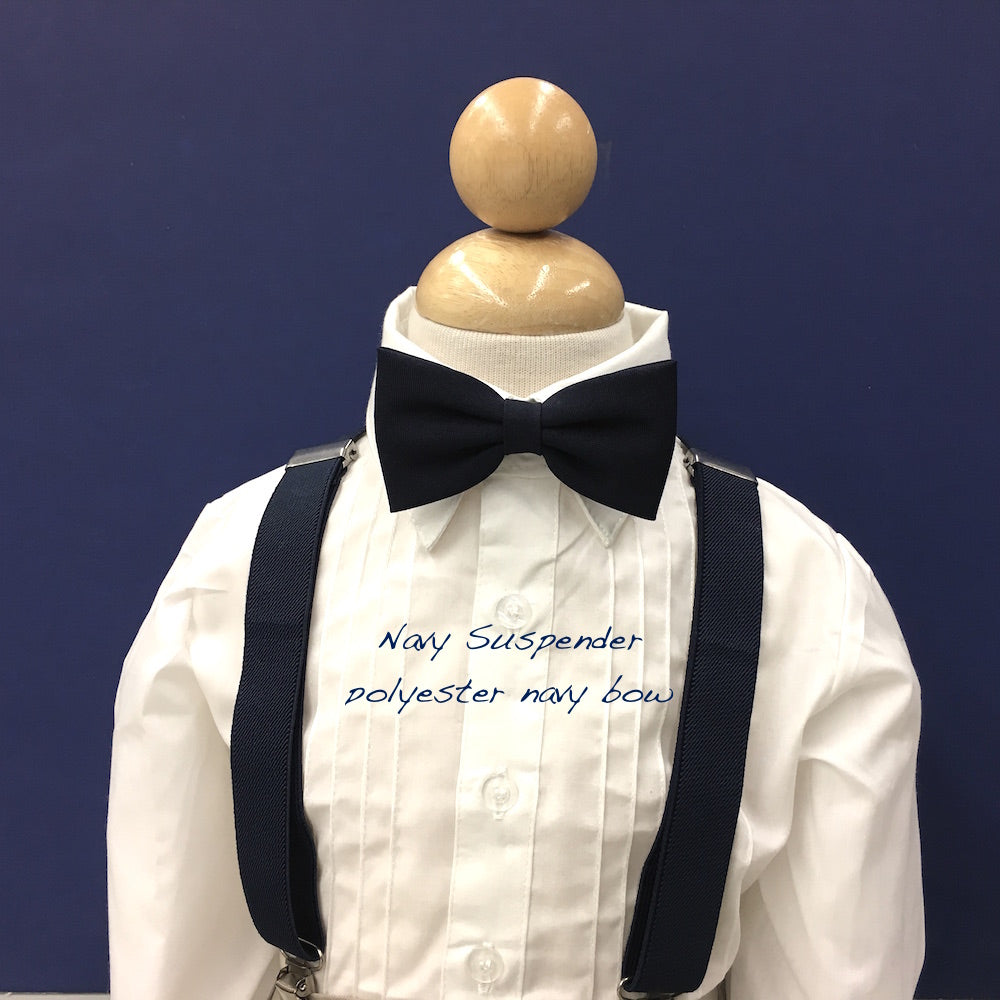 Navy Suspender and Bow Tie