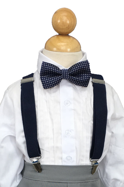 Navy Suspender and Navy Polkadot Bow Tie