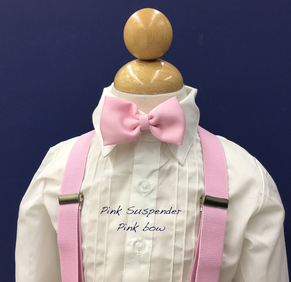 Pink suspender and pink bow tie