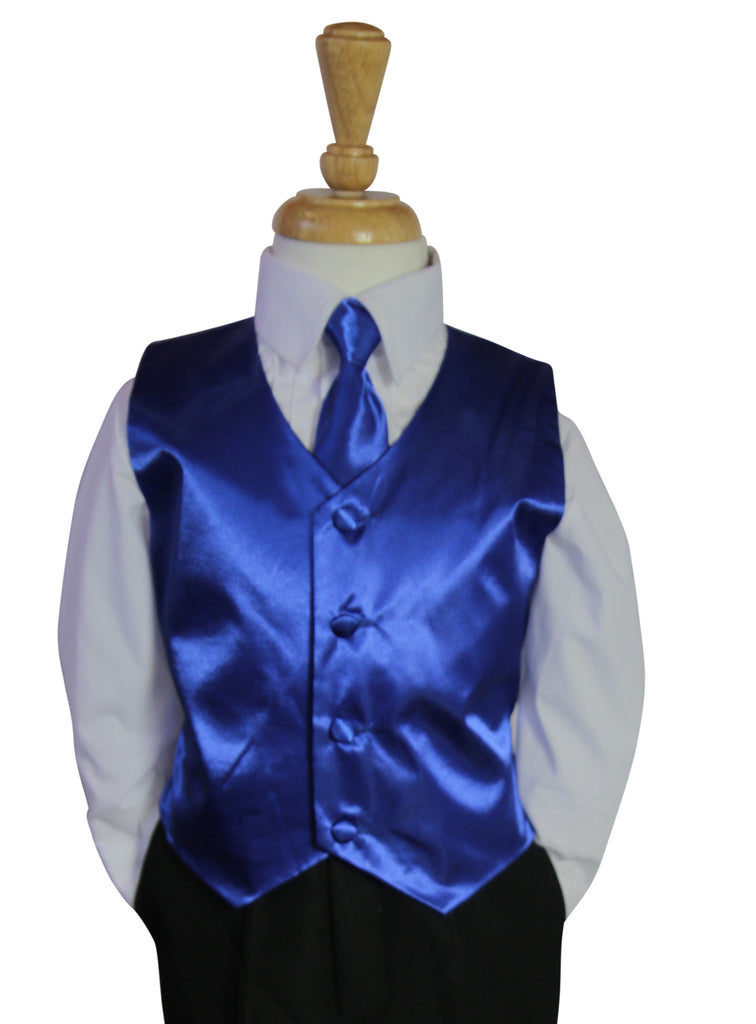 Royal blue Vest and Long tie