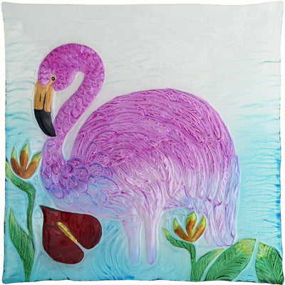 Flamingo Glass Serving Platter