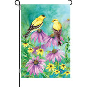 Summer Goldfinches Illuminated Garden Flag