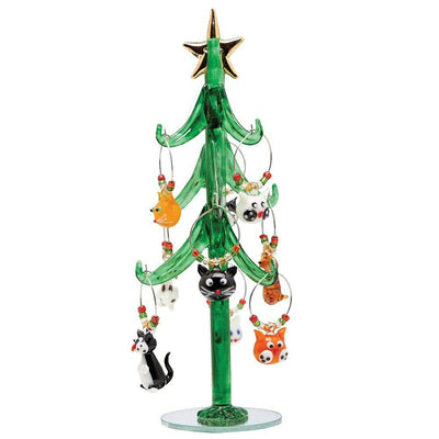 Glass Tree w/Cat Wine Charms 9 inch
