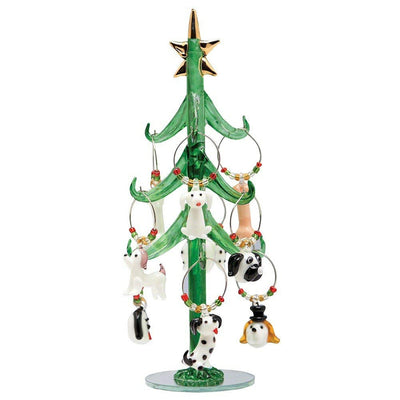 Glass Tree w/Dog Wine Charms 9 inch