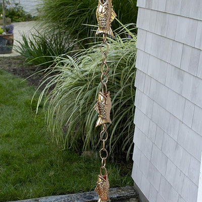 Fish Polished Copper Rain Chain 8.5 ft