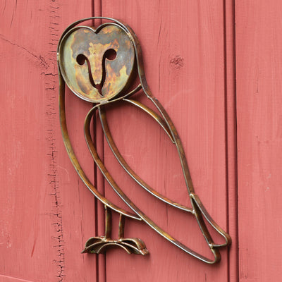 Barn Owl Flamed Metal Wall Sculpture