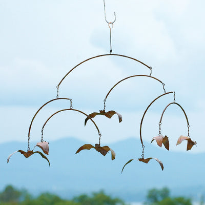 Hanging Bats Flamed Garden Mobile
