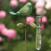 Teal Bird Staked Rain Gauge